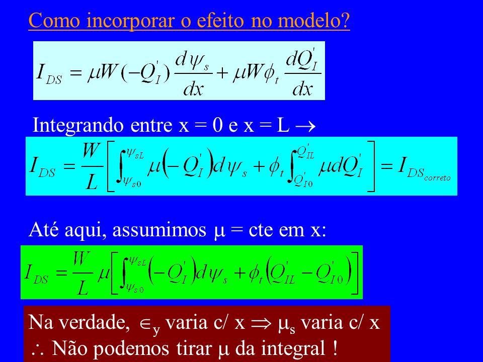 Como incorporar o efeito no modelo? Integrando entre x = 0 e x = L Até aqui, assumimos = cte em x: Na verdade, y varia c/ x s varia c/ x Não podemos t