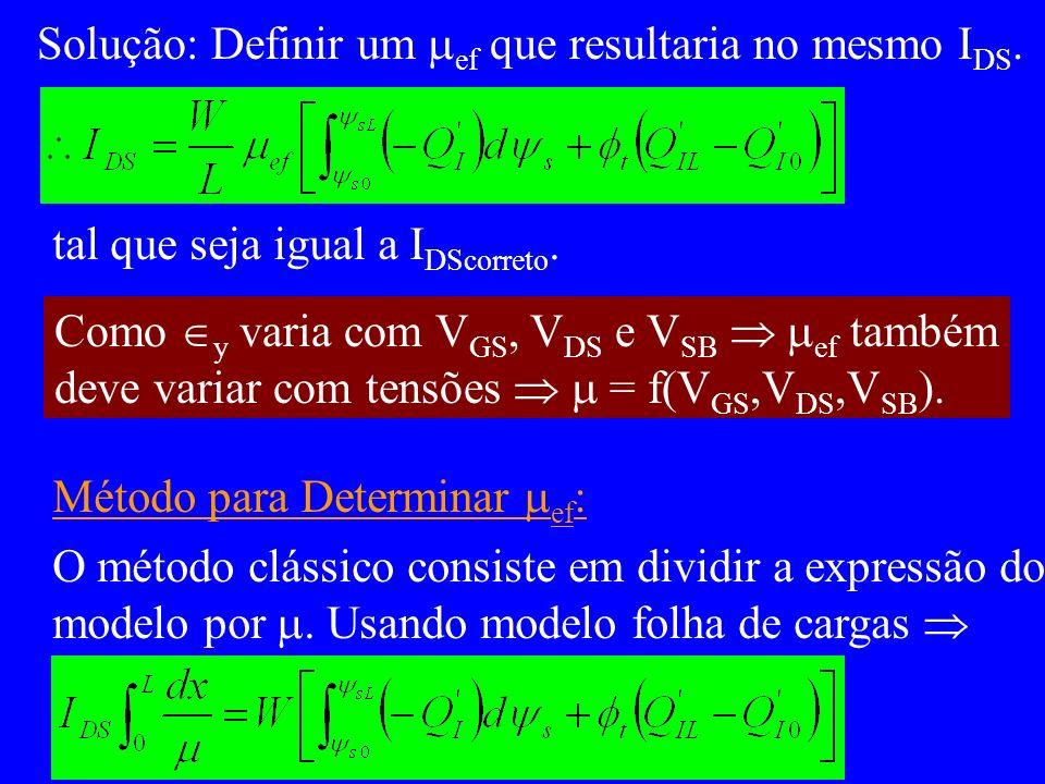 Solução: Definir um ef que resultaria no mesmo I DS. tal que seja igual a I DScorreto. Como y varia com V GS, V DS e V SB ef também deve variar com te