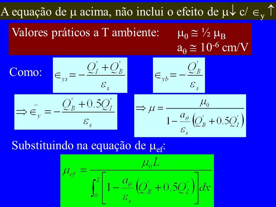 A equação de acima, não inclui o efeito de c/ y Valores práticos a T ambiente: 0 ½ B a 10 -6 cm/V Como: Substituindo na equação de ef :