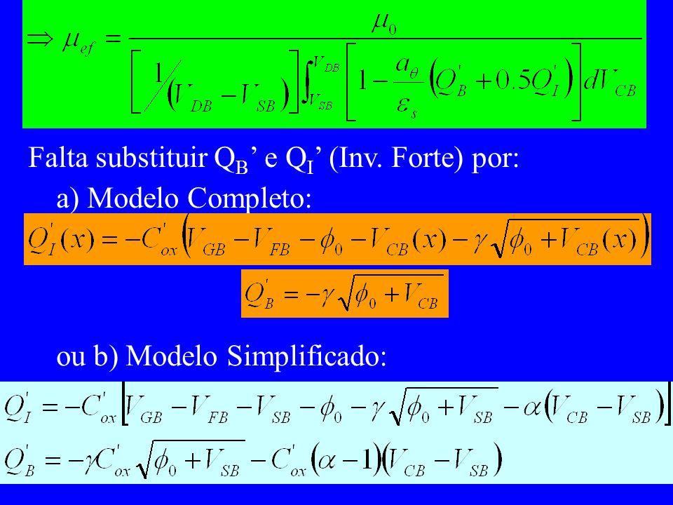 Falta substituir Q B e Q I (Inv. Forte) por: a) Modelo Completo: ou b) Modelo Simplificado: