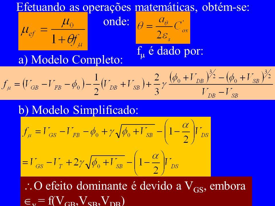 Efetuando as operações matemáticas, obtém-se: onde: f é dado por: a) Modelo Completo: b) Modelo Simplificado: O efeito dominante é devido a V GS, embo
