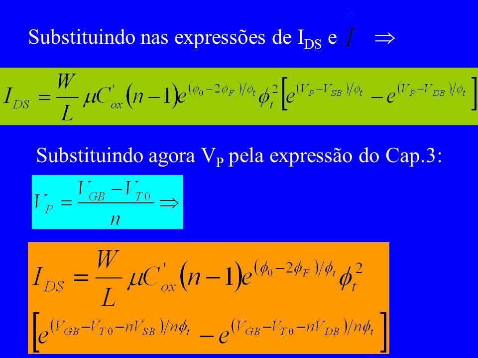 Substituindo nas expressões de I DS e Substituindo agora V P pela expressão do Cap.3: