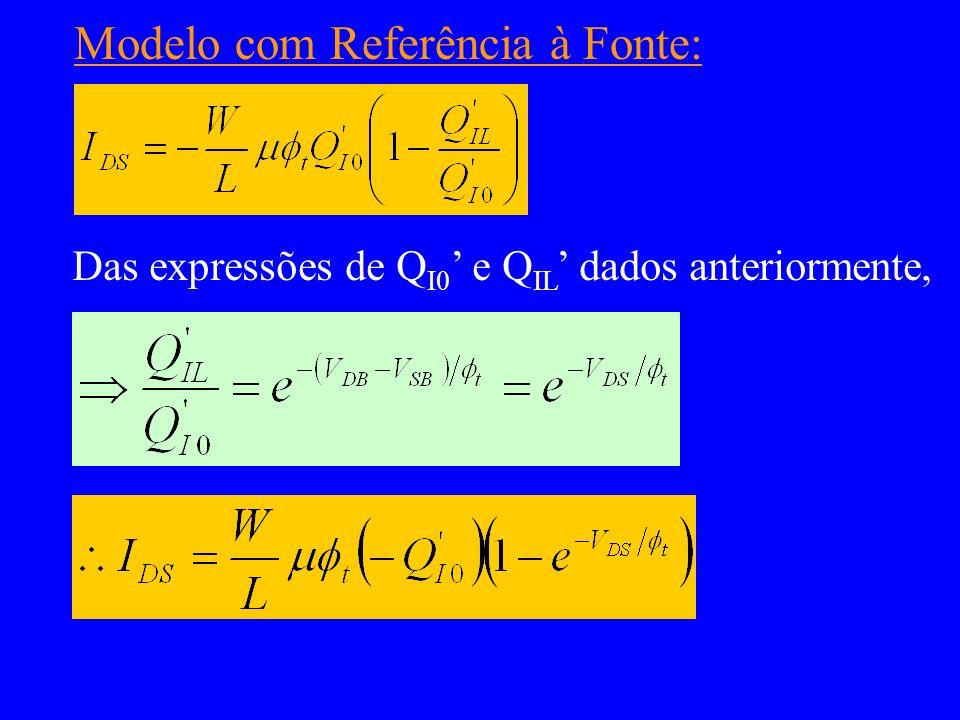 Modelo com Referência à Fonte: Das expressões de Q I0 e Q IL dados anteriormente,