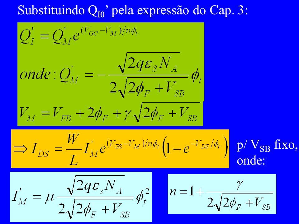 Substituindo Q I0 pela expressão do Cap. 3: p/ V SB fixo, onde: