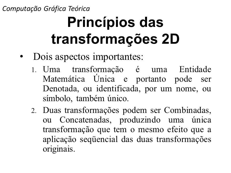 Princípios das transformações 2D Dois aspectos importantes: 1. Uma transformação é uma Entidade Matemática Única e portanto pode ser Denotada, ou iden