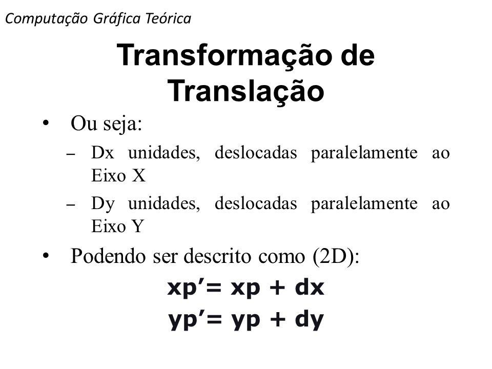 Transformação de Translação Ou seja: – Dx unidades, deslocadas paralelamente ao Eixo X – Dy unidades, deslocadas paralelamente ao Eixo Y Podendo ser d