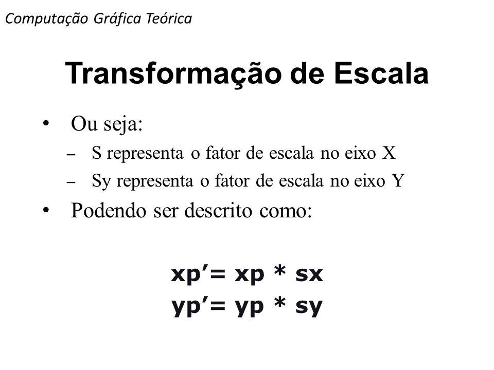 Transformação de Escala Ou seja: – S representa o fator de escala no eixo X – Sy representa o fator de escala no eixo Y Podendo ser descrito como: xp=