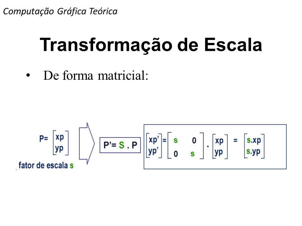 Transformação de Escala De forma matricial: Computação Gráfica Teórica