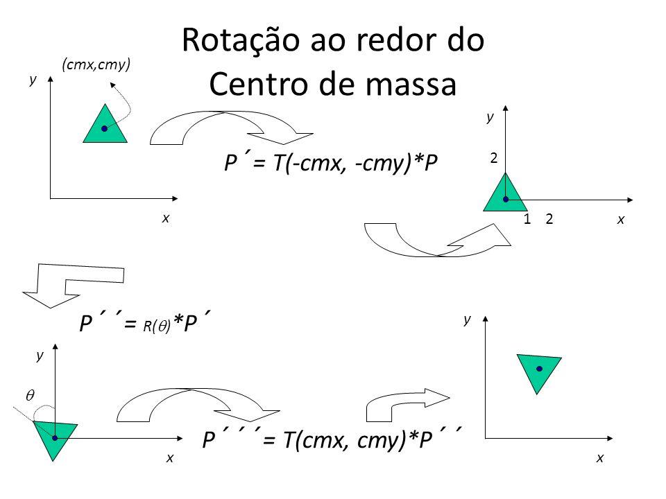 Rotação ao redor do Centro de massa 1 2 x y 2 P´= T(-cmx, -cmy)*P P´´= R( ) *P´ P´´´= T(cmx, cmy)*P´´ x y x y x y (cmx,cmy)