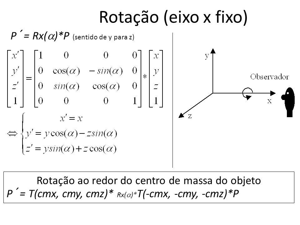 Rotação (eixo x fixo) P´= Rx( )*P (sentido de y para z) Rotação ao redor do centro de massa do objeto P´= T(cmx, cmy, cmz)* Rx( )* T(-cmx, -cmy, -cmz)