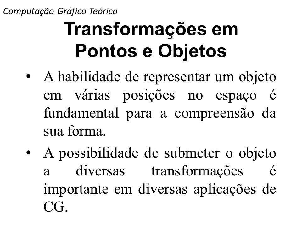 Transformações em Pontos e Objetos A habilidade de representar um objeto em várias posições no espaço é fundamental para a compreensão da sua forma. A