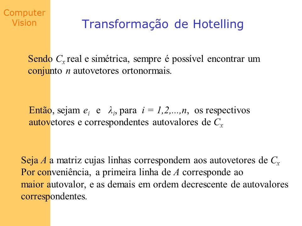 Computer Vision Transformação de Hotelling Sendo C x real e simétrica, sempre é possível encontrar um conjunto n autovetores ortonormais. Então, sejam