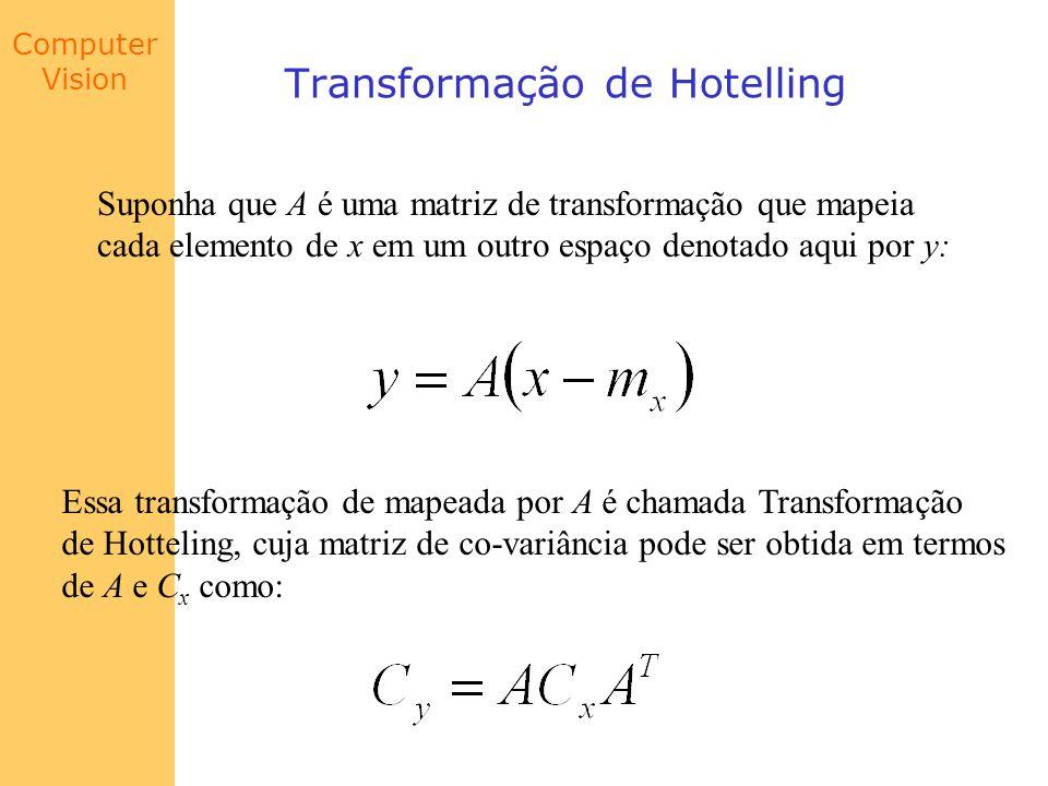 Computer Vision Transformação de Hotelling Suponha que A é uma matriz de transformação que mapeia cada elemento de x em um outro espaço denotado aqui