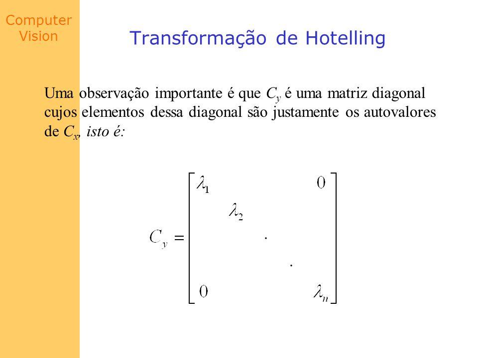 Computer Vision Transformação de Hotelling Uma observação importante é que C y é uma matriz diagonal cujos elementos dessa diagonal são justamente os