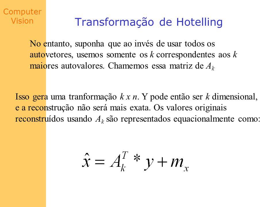 Computer Vision Transformação de Hotelling No entanto, suponha que ao invés de usar todos os autovetores, usemos somente os k correspondentes aos k ma