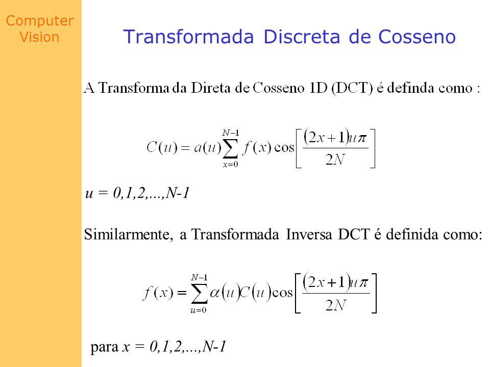 Computer Vision Transformada Discreta de Cosseno u = 0,1,2,...,N-1 Similarmente, a Transformada Inversa DCT é definida como: para x = 0,1,2,...,N-1