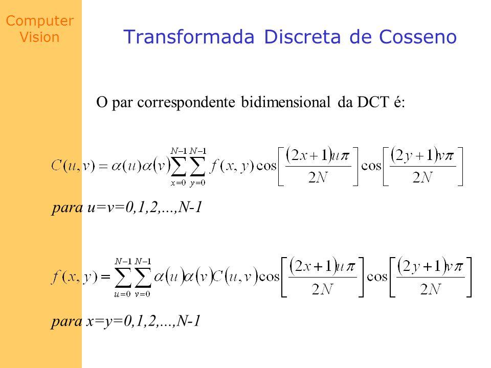 Computer Vision Transformada Discreta de Cosseno O par correspondente bidimensional da DCT é: para u=v=0,1,2,...,N-1 para x=y=0,1,2,...,N-1