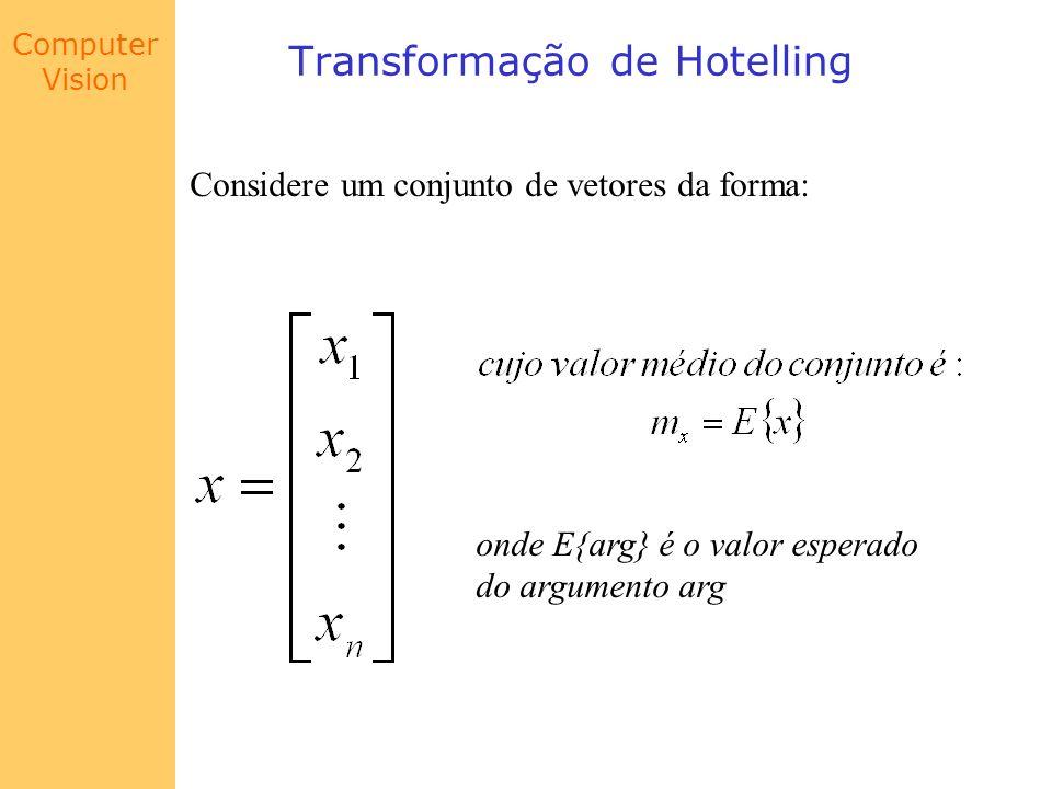 Computer Vision Transformação de Hotelling Assim, a matriz de covariância de uma população de vetores é obtida tomando-se o valor esperado de cada elemento: onde T indica transposição
