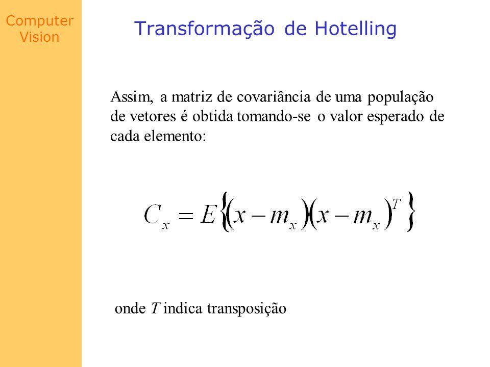 Computer Vision Transformação de Hotelling Uma vez que x é n-dimensional C x é uma matriz n x n, onde cada elemento c ii é a variância de x i e cada elemento c ij, para i j é a co-variância entre os elementos x i e x j A matriz C x é também uma matriz real e simétrica Se os elementos x i e x j não são correlacionados c ij = c ji = 0