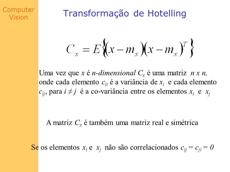 Computer Vision Transformação de Hotelling Se o número de vetores de uma população for M, o vetor médio e a matriz de co-variância podem ser aproximados por: