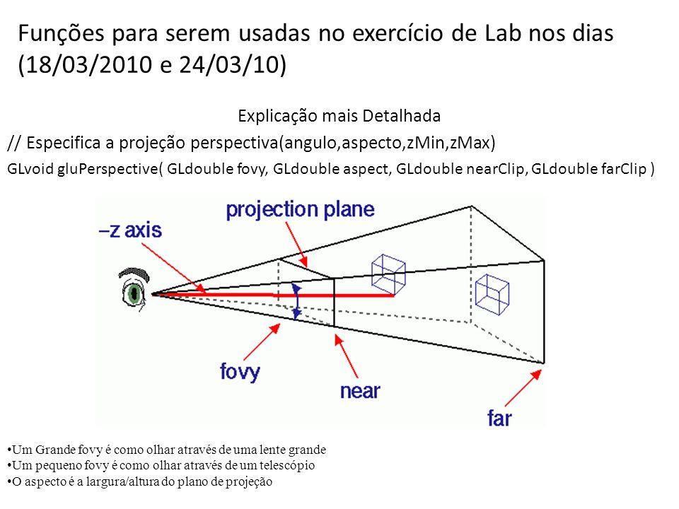 Funções para serem usadas no exercício de Lab nos dias (18/03/2010 e 24/03/10) Explicação mais Detalhada // Especifica a projeção perspectiva(angulo,aspecto,zMin,zMax) GLvoid gluPerspective( GLdouble fovy, GLdouble aspect, GLdouble nearClip, GLdouble farClip ) Um Grande fovy é como olhar através de uma lente grande Um pequeno fovy é como olhar através de um telescópio O aspecto é a largura/altura do plano de projeção