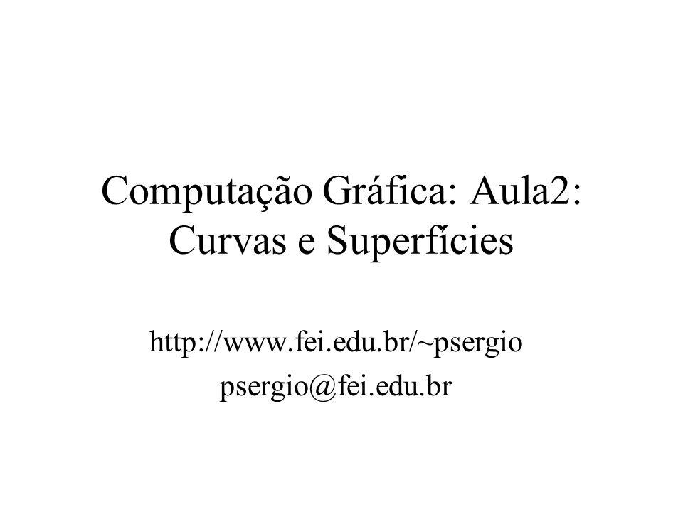 Computação Gráfica: Aula2: Curvas e Superfícies http://www.fei.edu.br/~psergio psergio@fei.edu.br
