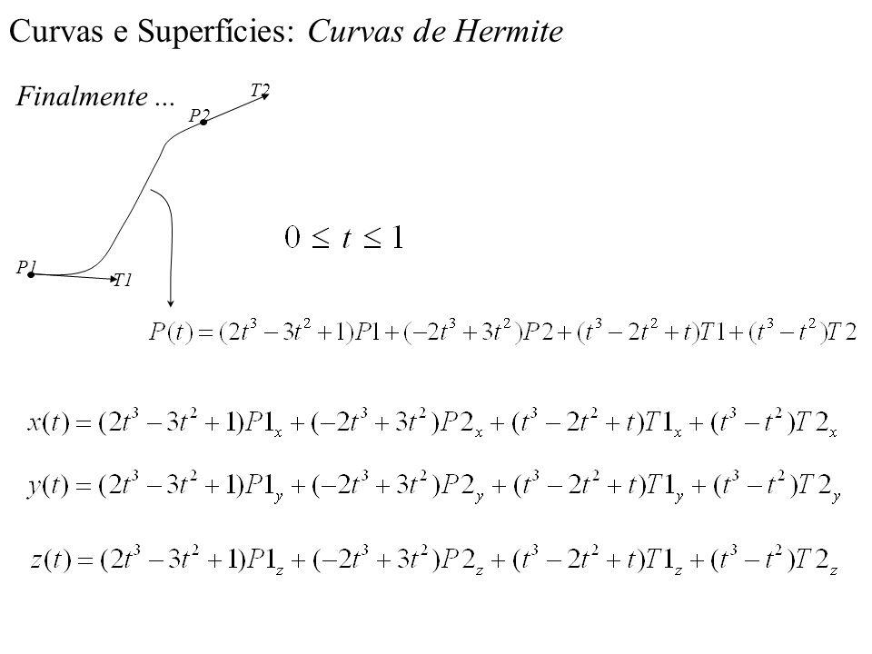 Curvas e Superfícies: Curvas de Hermite Finalmente... P2 P1 T2 T1