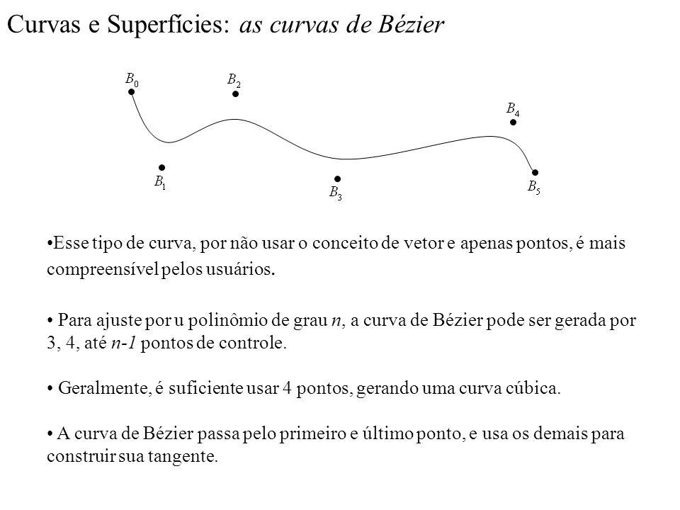 Curvas e Superfícies: as curvas de Bézier Esse tipo de curva, por não usar o conceito de vetor e apenas pontos, é mais compreensível pelos usuários. P