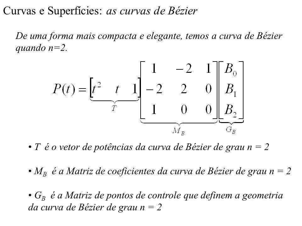 Curvas e Superfícies: as curvas de Bézier De uma forma mais compacta e elegante, temos a curva de Bézier quando n=2. T é o vetor de potências da curva