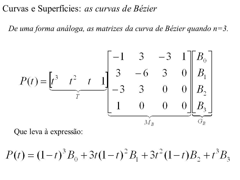 Curvas e Superfícies: as curvas de Bézier De uma forma análoga, as matrizes da curva de Bézier quando n=3. Que leva à expressão: