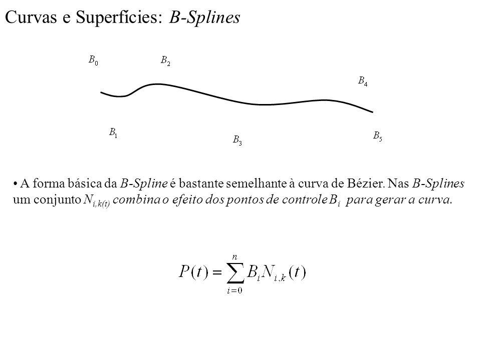 Curvas e Superfícies: B-Splines A forma básica da B-Spline é bastante semelhante à curva de Bézier. Nas B-Splines um conjunto N i,k(t) combina o efeit