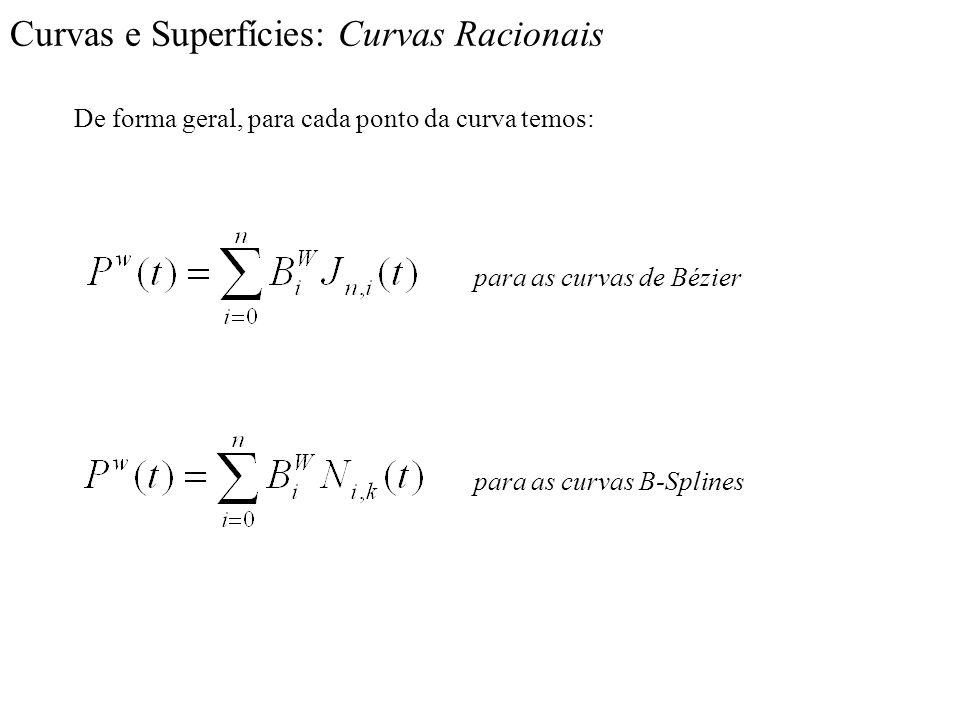 Curvas e Superfícies: Curvas Racionais De forma geral, para cada ponto da curva temos: para as curvas de Bézier para as curvas B-Splines