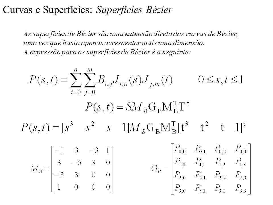 Curvas e Superfícies: Superfícies Bézier As superfícies de Bézier são uma extensão direta das curvas de Bézier, uma vez que basta apenas acrescentar m