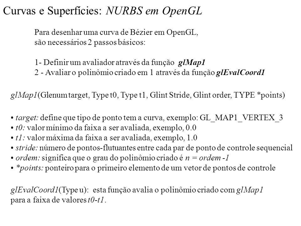 Curvas e Superfícies: NURBS em OpenGL Para desenhar uma curva de Bézier em OpenGL, são necessários 2 passos básicos: 1- Definir um avaliador através d