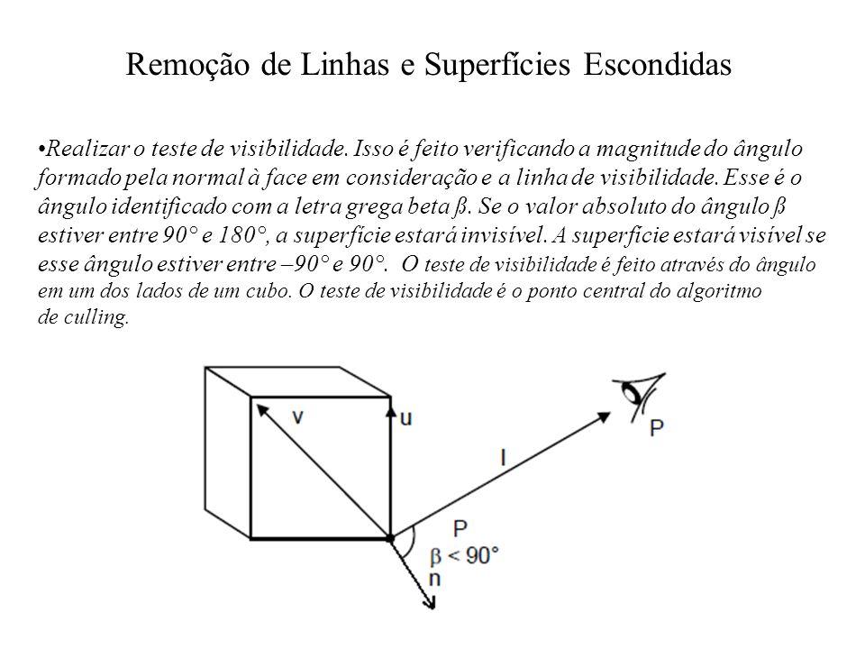 Remoção de Linhas e Superfícies Escondidas Realizar o teste de visibilidade. Isso é feito verificando a magnitude do ângulo formado pela normal à face