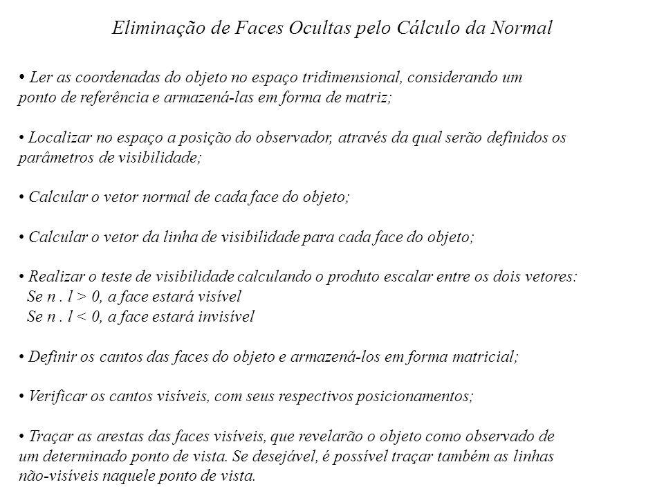 Eliminação de Faces Ocultas pelo Cálculo da Normal Ler as coordenadas do objeto no espaço tridimensional, considerando um ponto de referência e armaze