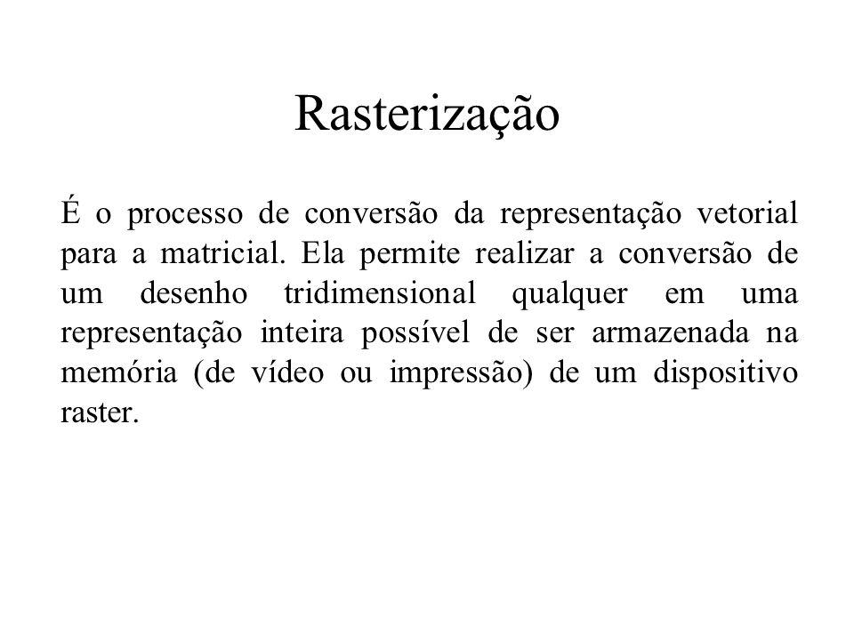 Rasterização É o processo de conversão da representação vetorial para a matricial. Ela permite realizar a conversão de um desenho tridimensional qualq