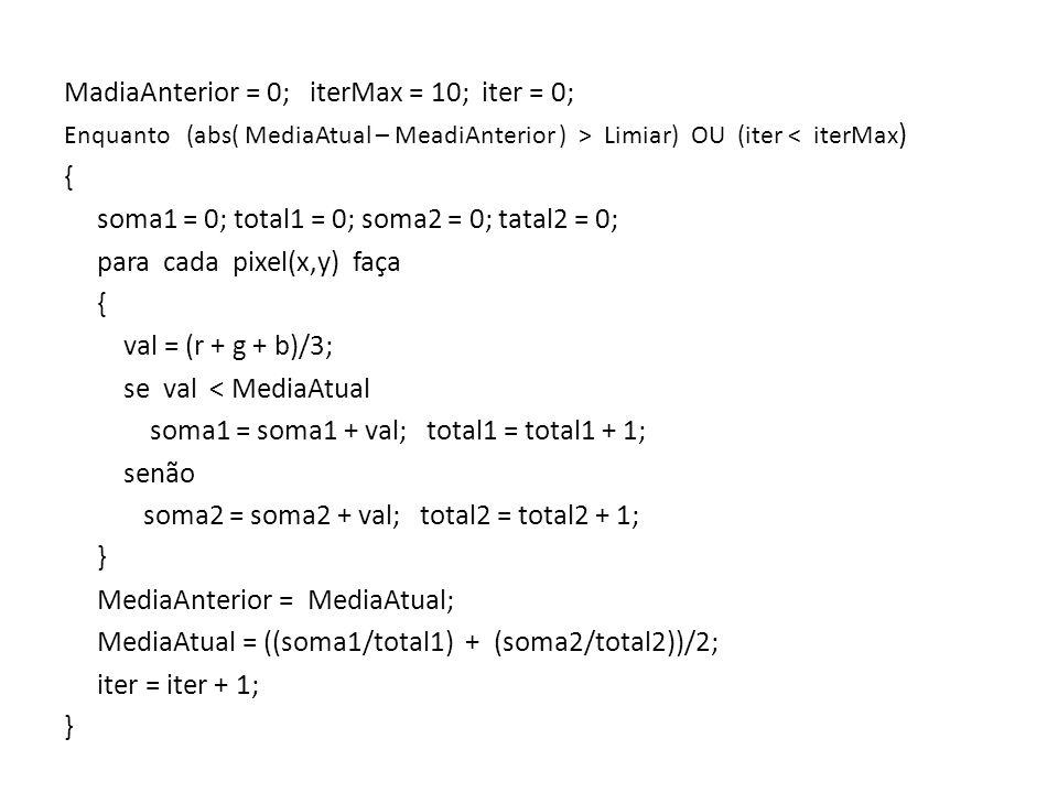 MadiaAnterior = 0; iterMax = 10; iter = 0; Enquanto (abs( MediaAtual – MeadiAnterior ) > Limiar) OU (iter < iterMax ) { soma1 = 0; total1 = 0; soma2 = 0; tatal2 = 0; para cada pixel(x,y) faça { val = (r + g + b)/3; se val < MediaAtual soma1 = soma1 + val; total1 = total1 + 1; senão soma2 = soma2 + val; total2 = total2 + 1; } MediaAnterior = MediaAtual; MediaAtual = ((soma1/total1) + (soma2/total2))/2; iter = iter + 1; }