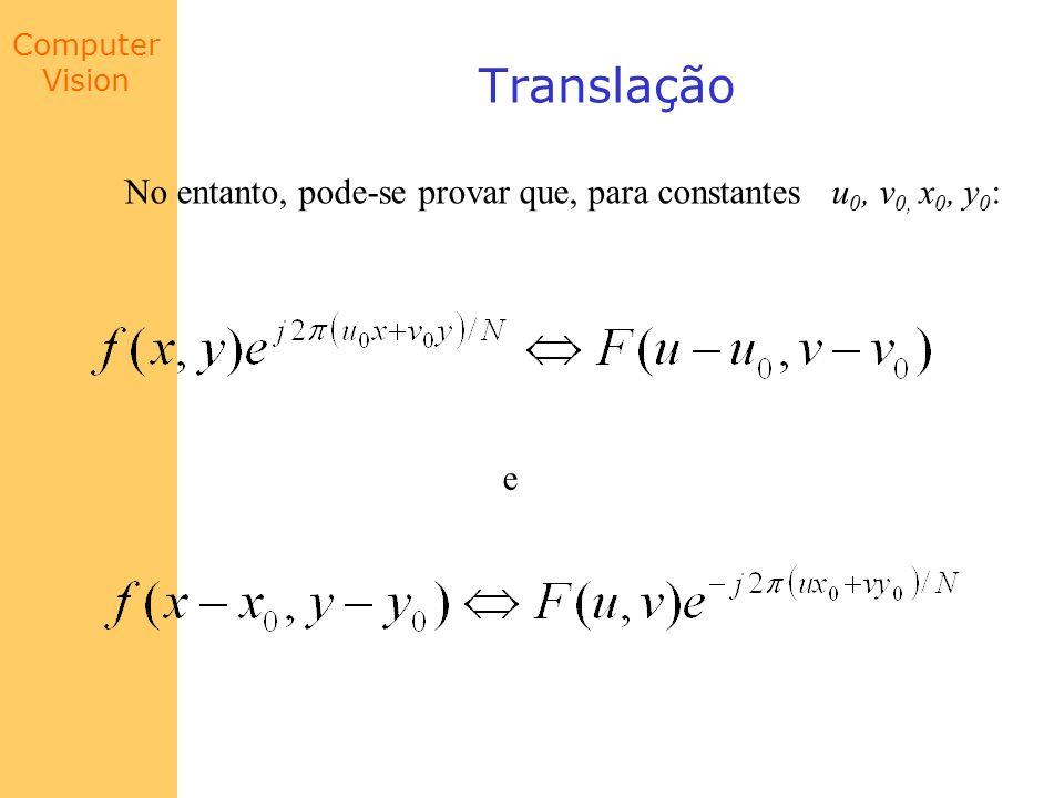 Computer Vision Translação No entanto, pode-se provar que, para constantes u 0, v 0, x 0, y 0 : e
