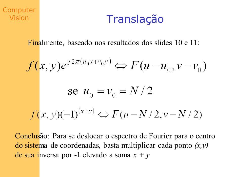 Computer Vision Translação Finalmente, baseado nos resultados dos slides 10 e 11: Conclusão: Para se deslocar o espectro de Fourier para o centro do s