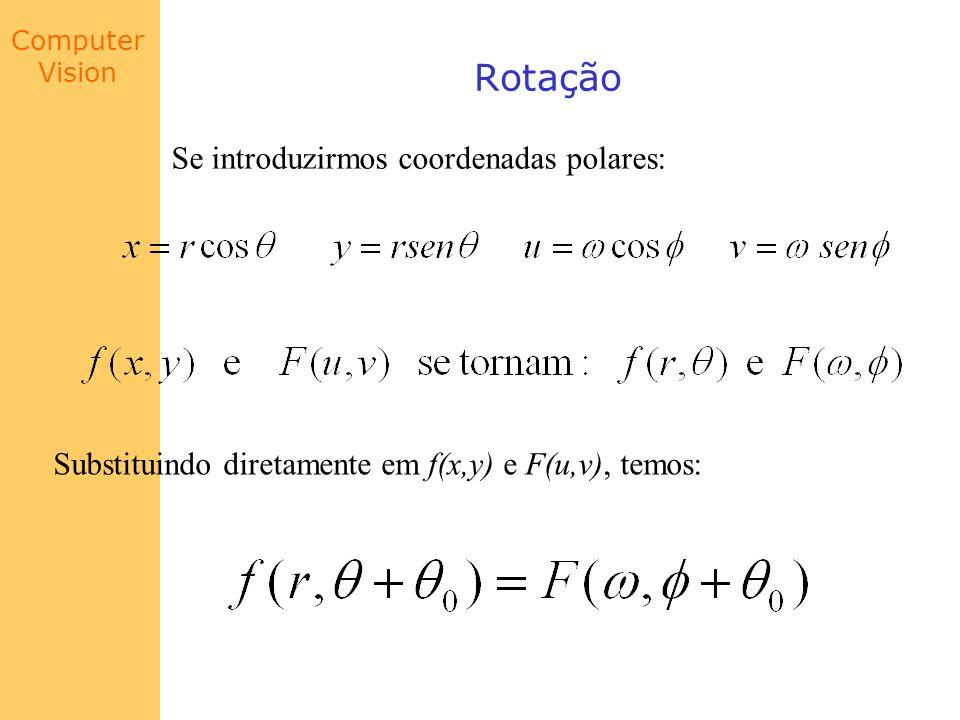 Computer Vision Rotação Se introduzirmos coordenadas polares: Substituindo diretamente em f(x,y) e F(u,v), temos: