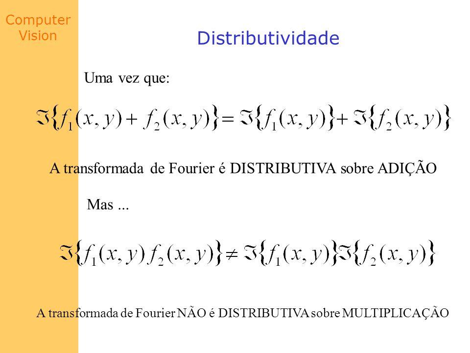 Computer Vision Distributividade Uma vez que: A transformada de Fourier é DISTRIBUTIVA sobre ADIÇÃO Mas... A transformada de Fourier NÃO é DISTRIBUTIV