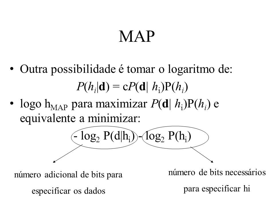MAP Outra possibilidade é tomar o logaritmo de: P(h i  d) = cP(d  h i )P(h i ) logo h MAP para maximizar P(d  h i )P(h i ) e equivalente a minimizar: