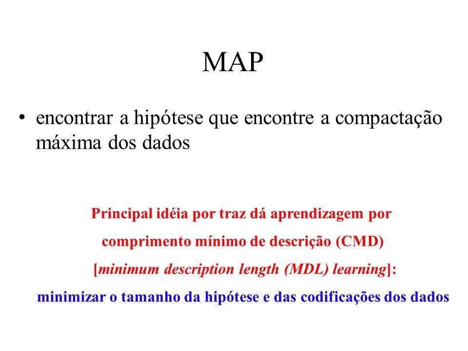 MAP encontrar a hipótese que encontre a compactação máxima dos dados Principal idéia por traz dá aprendizagem por comprimento mínimo de descrição (CMD