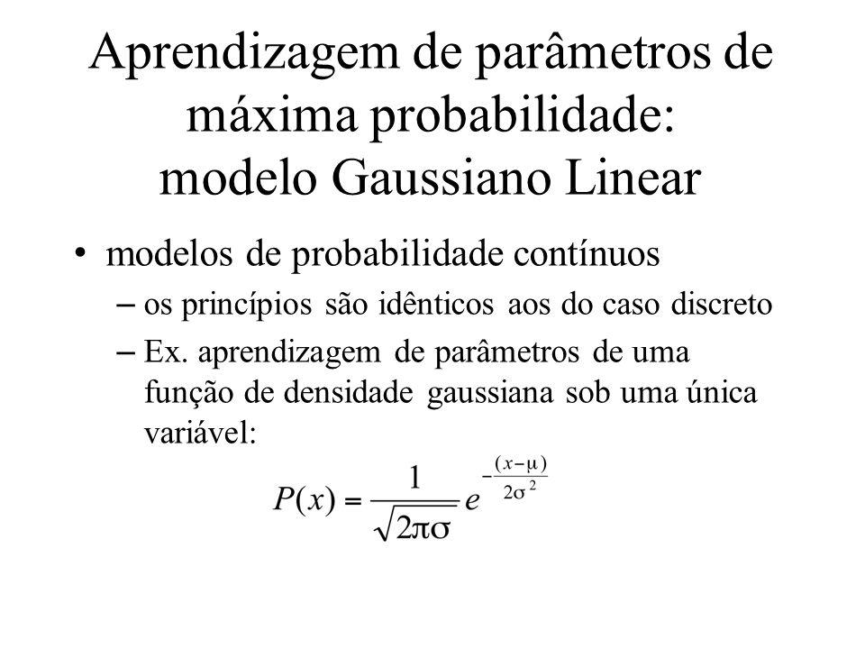 Aprendizagem de parâmetros de máxima probabilidade: modelo Gaussiano Linear modelos de probabilidade contínuos –os princípios são idênticos aos do cas