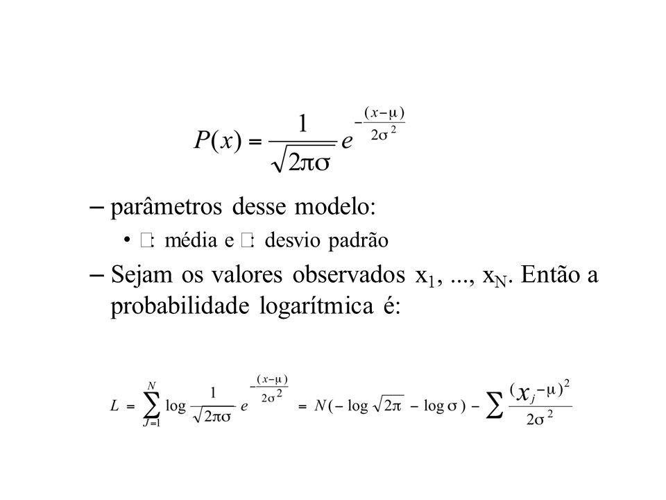 –parâmetros desse modelo: : média e : desvio padrão –Sejam os valores observados x 1,..., x N. Então a probabilidade logarítmica é:
