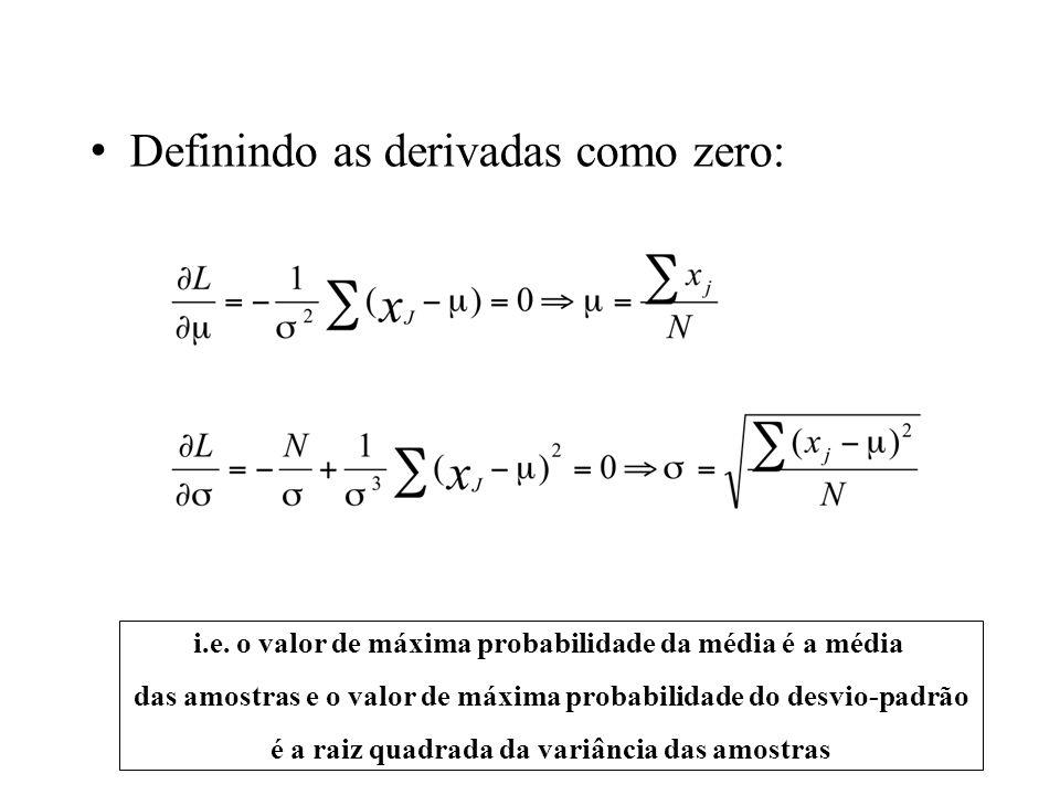 Definindo as derivadas como zero: i.e. o valor de máxima probabilidade da média é a média das amostras e o valor de máxima probabilidade do desvio-pad