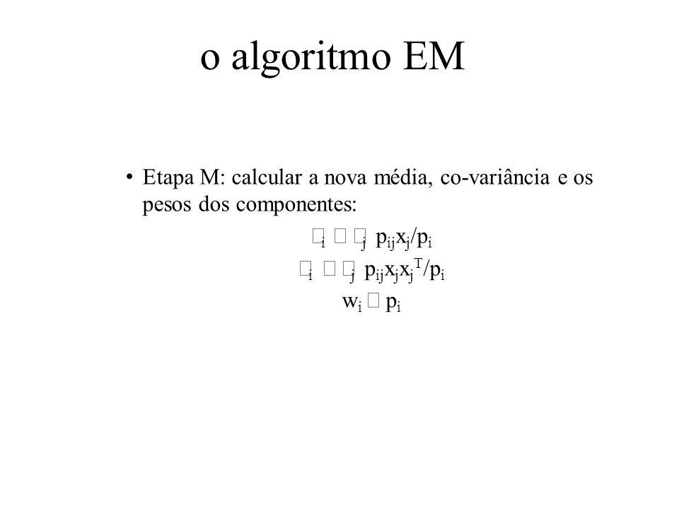 o algoritmo EM Etapa M: calcular a nova média, co-variância e os pesos dos componentes: i j p ij x j /p i i j p ij x j x j T /p i w i p i