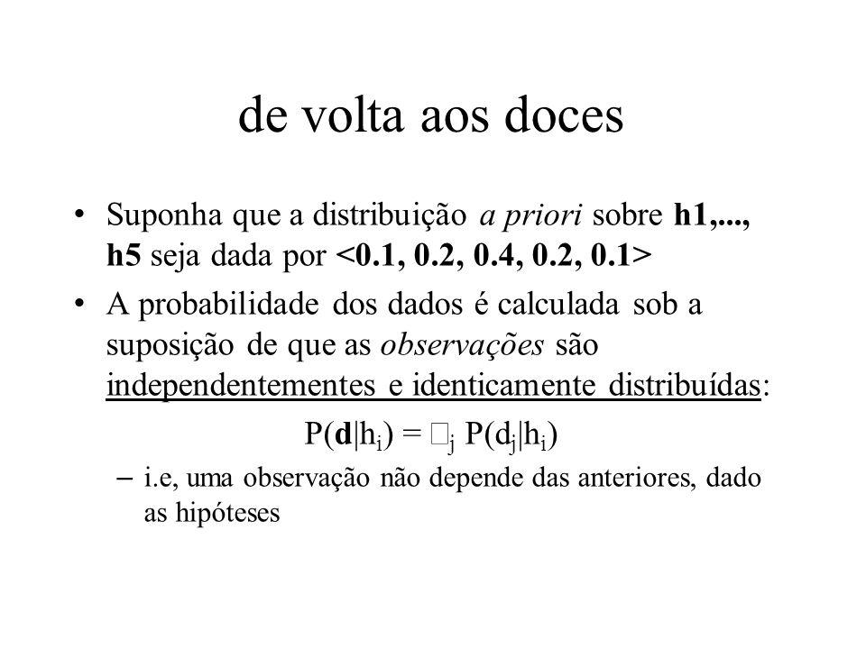 de volta aos doces Suponha que a distribuição a priori sobre h1,..., h5 seja dada por A probabilidade dos dados é calculada sob a suposição de que as