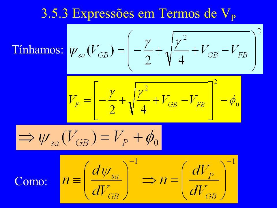 3.5.3 Expressões em Termos de V P Tínhamos: Como: